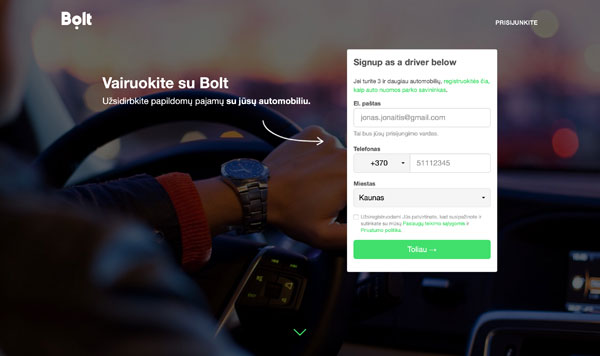 Registracija Bolt